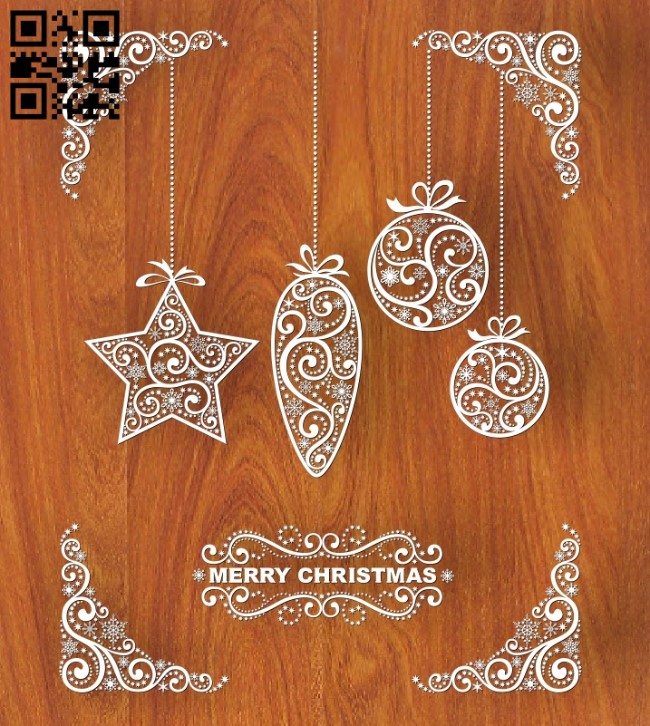 Merry Christmas E0012402 file cdr and dxf free vector download for laser engraving machines