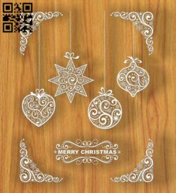 Merry Christmas E0012403 file cdr and dxf free vector download for laser cut