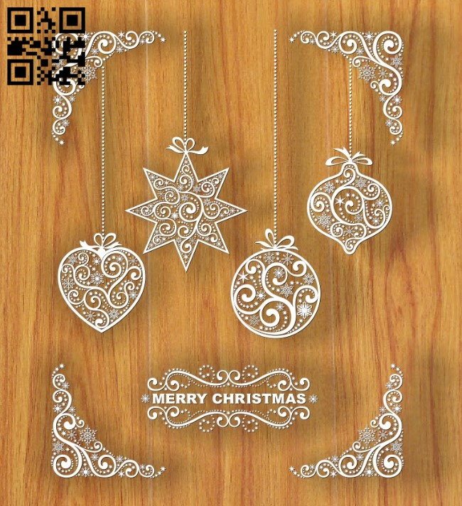 Merry Christmas E0012403 file cdr and dxf free vector download for laser engraving machines