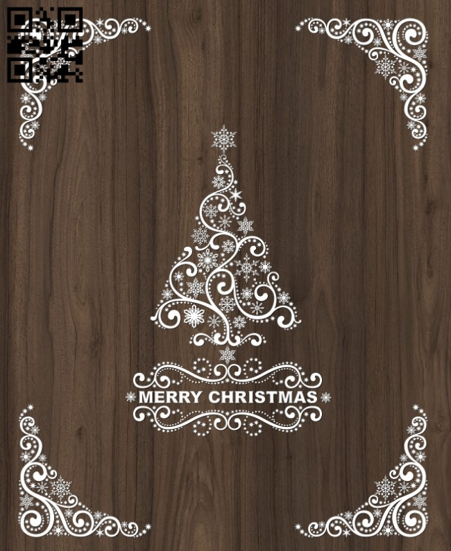 Merry Christmas E0012406 file cdr and dxf free vector download for laser cut