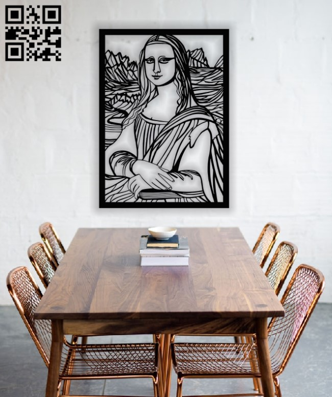 Mona Lisa panel E0012566 file cdr and dxf free vector download for laser cut