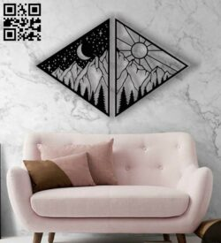 Moon and sun panel E0012535 file cdr and dxf free rvector download for laser cut plasma