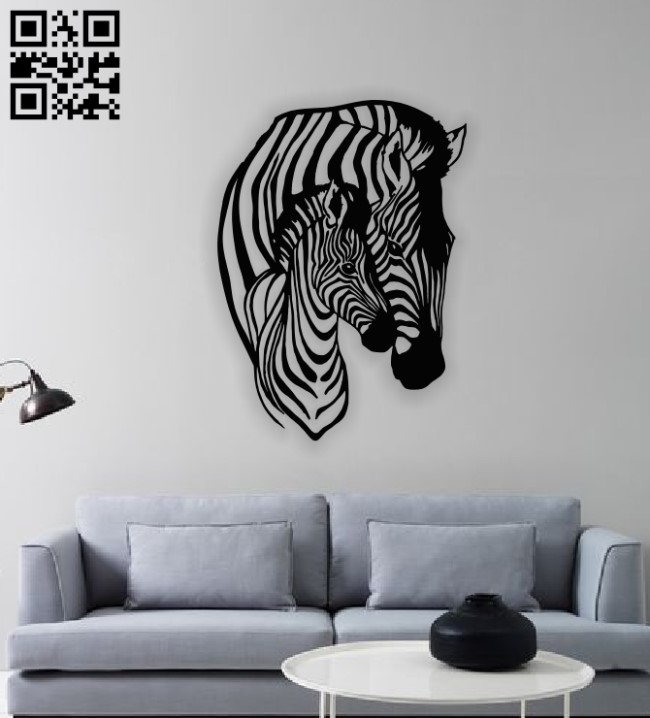 Mother horse and foal mural E0012572 file cdr and dxf free vector download for laser cut plasma