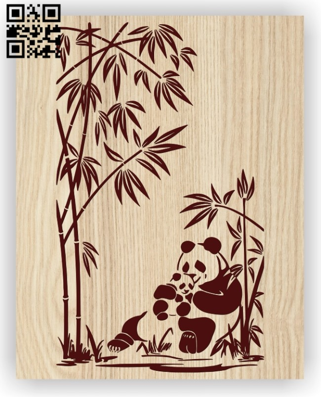 Mother panda and baby panda E0012467 file cdr and dxf free vector download for laser engraving machines