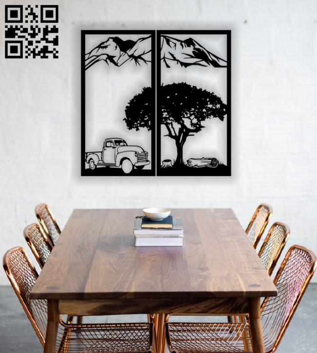 Mountain Tree Auto Panel E0012456 file cdr and dxf free vector download for laser cut plasma