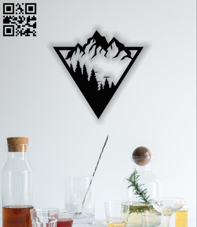 Mountain panel E0012567 file cdr and dxf free vector download for laser cut