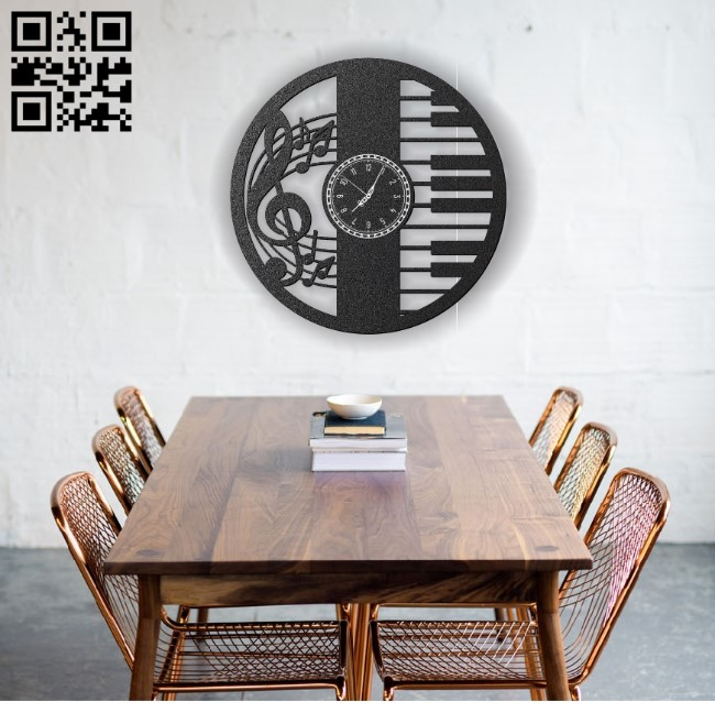 Music note wall clock E0012307 file cdr and dxf free vector download for laser cut