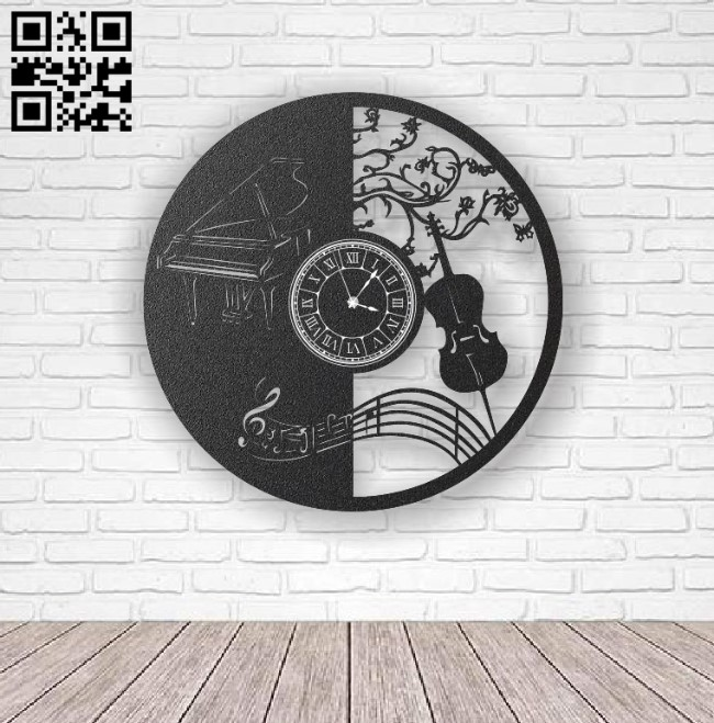 Music wall clock E0012308 file cdr and dxf free vector download for laser cut