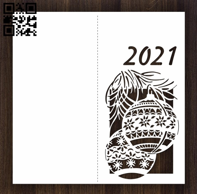 New Year card E0012521 file cdr and dxf free vector download for laser cut