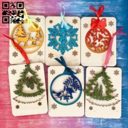 New Year cards E0012520 file cdr and dxf free vector download for laser cut