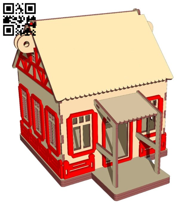 New Year's house E0012279 file cdr and dxf free vector download for laser cut