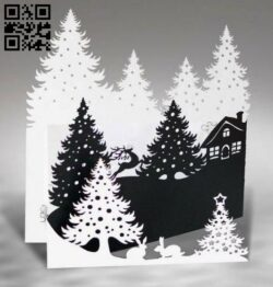 New year postcard E0012507 file cdr and dxf free vector download for laser cut