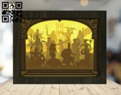 Olympia gods light box E0012426 file cdr and dxf free vector download for laser cut