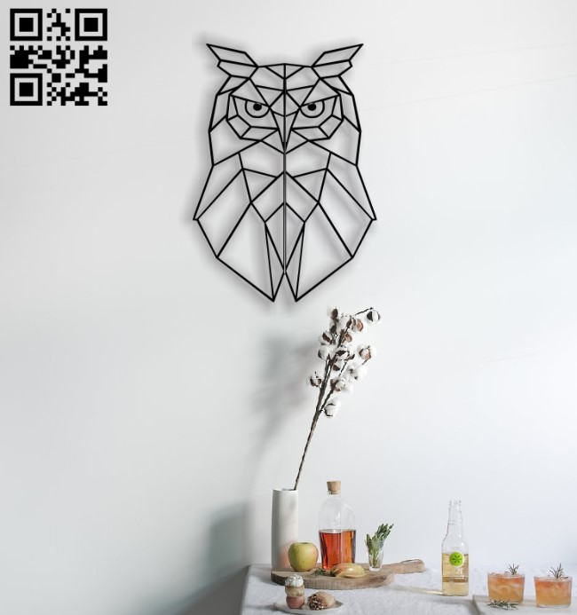 Owl mural E0012517 file cdr and dxf free vector download for laser cut plasma