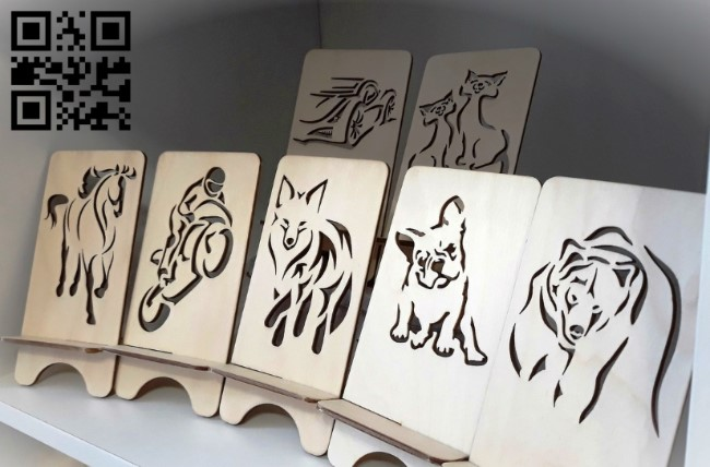 Phone stand E0012438 file cdr and dxf free vector download for laser cut