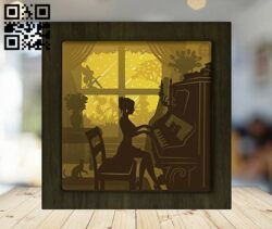 Piano light box E0012362 file cdr and dxf free vector download for laser cut