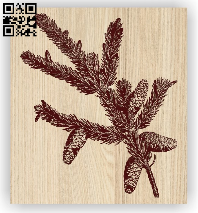 Pine branch E0012472 file cdr and dxf free vector download for laser engraving machines