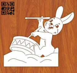 Rabbit hit the drum E0012257 file cdr and dxf free vector download for laser engraving machines