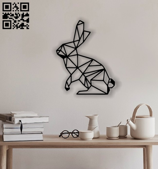 Rabbit mural E0012546 file cdr and dxf free vector download for laser cut