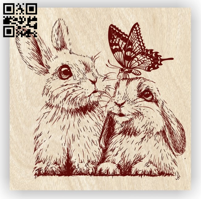 Rabbits and butterflies E0012270 file cdr and dxf free vector download for laser engraving machines