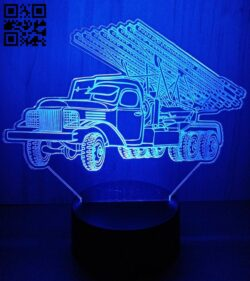 3D illusion led lamp rocket truck E0012458 file cdr and dxf free vector download for laser engraving machines