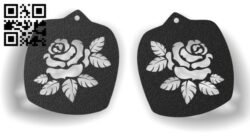 Rose earrings E0012292 file cdr and dxf free vector download for laser cut
