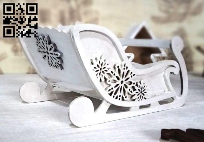 Sleigh with Snowflake E0012317 file cdr and dxf free vector download for laser cut