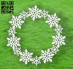 Snowfake wreath E0012365 file cdr and dxf free vector download for laser cut