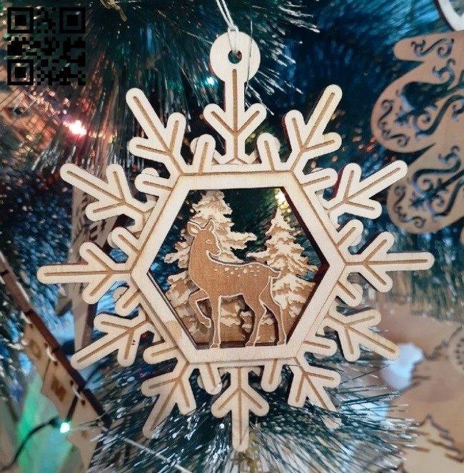 Snowflake with deer E0012309 file cdr and dxf free vector download for laser cut