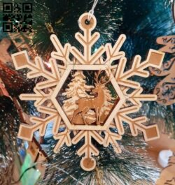 Snowflake with deer E0012310 file cdr and dxf free vector download for laser cut