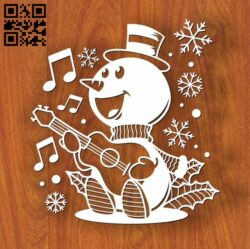 Snowman with guitar E0012508 file cdr and dxf free vector download for laser cut