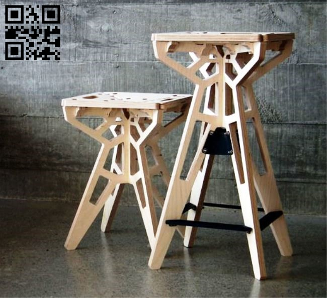 Stool E0012489 file cdr and dxf free vector download for laser cut