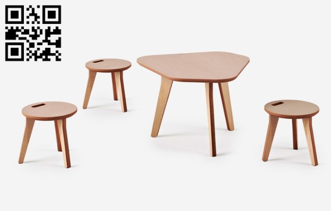 Tables and stools E0012384 file cdr and dxf free vector download for laser cut