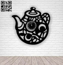 Teapot clock E0012431 file cdr and dxf free vector download for laser cut