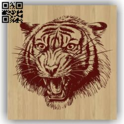 Tiger head E0012549 file cdr and dxf free vector download for laser engraving machines