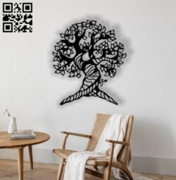 Tree E0012432 file cdr and dxf free vector download for laser cut plasma