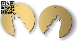 Wolf earrings E0012297 file cdr and dxf free vector download for laser cut
