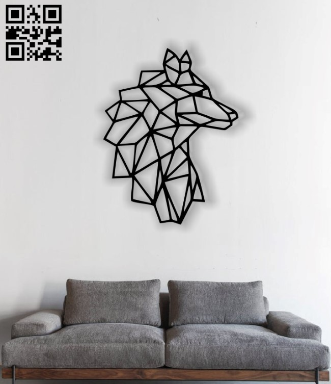 Wolf mural E0012518 file cdr and dxf free vector download for laser cut plasma
