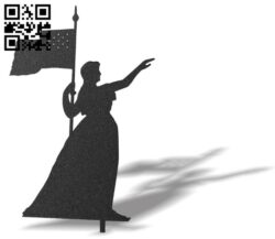 Woman with flag E0012447 file cdr and dxf free vector download for laser cut plasma