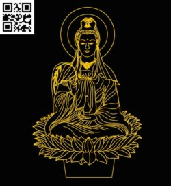 3D illusion led lamp Bodhisattva E0012874 file cdr and dxf free vector download for laser engraving machines