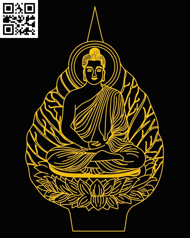 3D illusion led lamp Buddha E0012875 file cdr and dxf free vector download for laser engraving machines