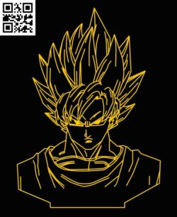 3D illusion led lamp Songoku E0012876 file cdr and dxf free vector download for laser engraving machines