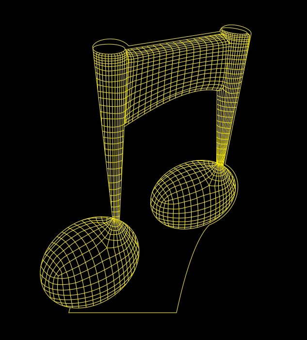 3D illusion led lamp music note E001288 file cdr and dxf free vector download for laser engraving machines