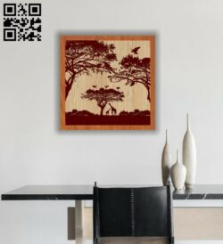 African forest E0012724 file cdr and dxf free vector download for laser engraving machines