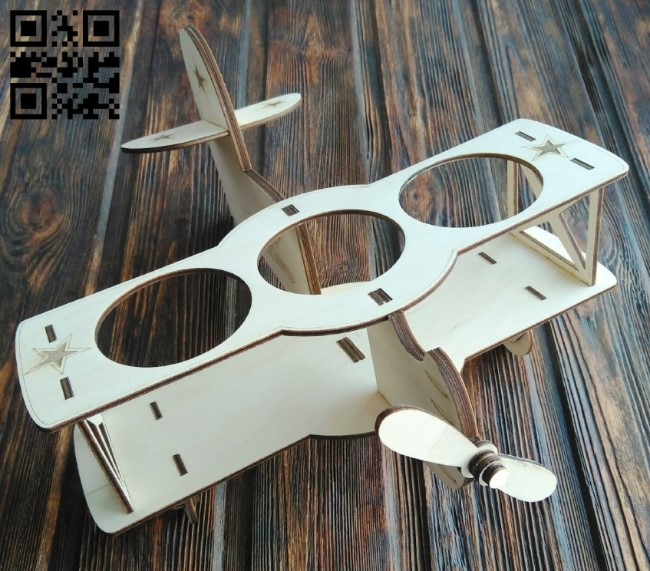 Airplane beer holder E0012804 file cdr and dxf free vector download for laser cut