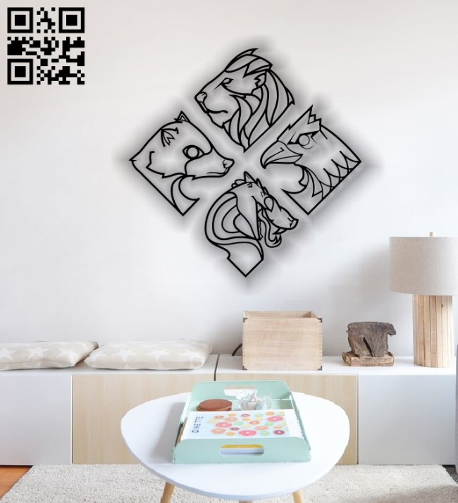 Animal mural E00127023 file cdr and dxf free vector download for laser cut plasma