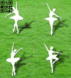 Ballerina dancer E0012628 file cdr and dxf free vector download for laser cut