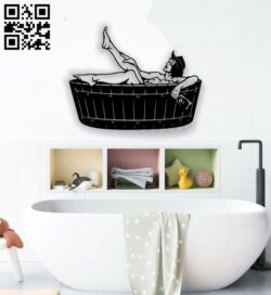 Bathroom decorative painting E0012705 file cdr and dxf free vector download for laser cut plasma