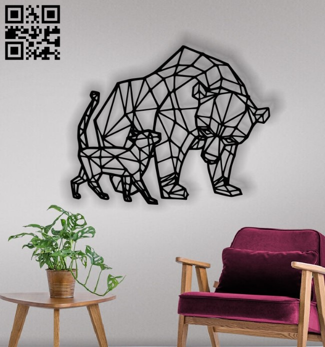 Bear and Cat panel E0012932 file cdr and dxf free vector download for laser cut plasma