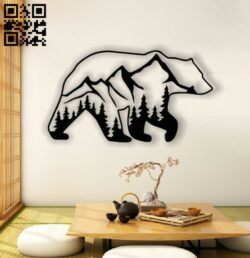 Bear panel E0012880 file cdr and dxf free vector download for laser cut plasma